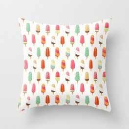 kawaii ice cream popsicles Throw Pillow