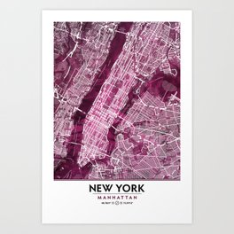 Black Rose Print Showing Manhattan NYC in Peony Floral Styling Art Print