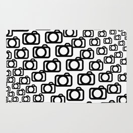 Photography Obsession, Camera Pattern Black and White Vector Rug