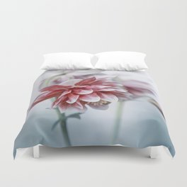 Red columbine flowers Duvet Cover