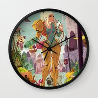 samus Wall Clocks featuring Samus Aran by Manuel Kilger