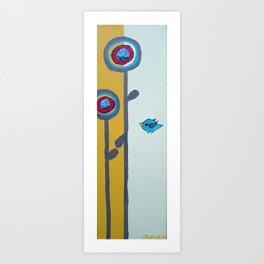 Blu Bird Bloom Art Print