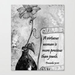 A Virtuous Woman Black & White Canvas Print