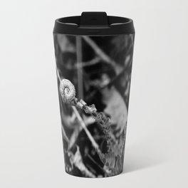 The Fiddlehead in Black and White Travel Mug
