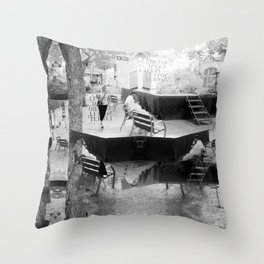 Summer space, smelting selves, simmer shimmers. [extra, 10, grayscale version] Throw Pillow