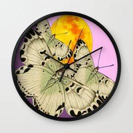 GOLDEN MOON MOTHS ON PUCE & PINK Wall Clock