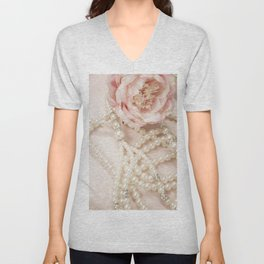 Peony and Pearls Unisex V-Neck