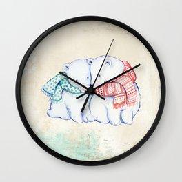 Winter Love Polar Bears Wall Clock