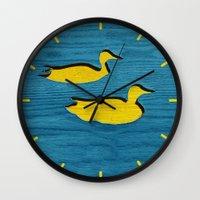 ducks Wall Clocks featuring Ducks by Brontosaurus