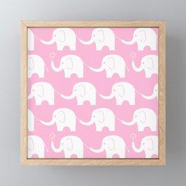 Elephant Parade on Pink Framed Mini Art Print