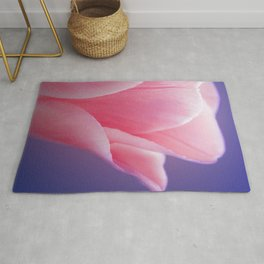 Romantic Pink Solo Tulip On Blue Background Rug