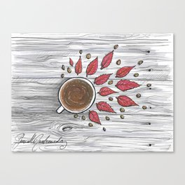 Hot coffee on a chilly fall day Canvas Print