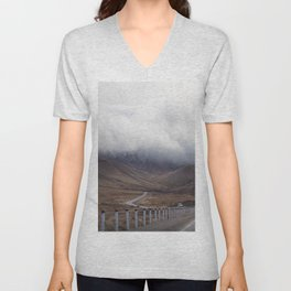 Roadtripping around New Zealand's South Island, Under a Thick Layer of Cloud Unisex V-Neck