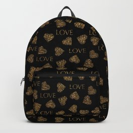 Valentines day gold pattern with stylish heart and text Backpack