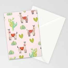 Cute alpacas with pink background Stationery Cards