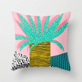 In the Mix - 80's neon house plant tropical garden container garden art print botanical natural  Throw Pillow