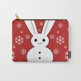 Snow bunny and snowflakes red Carry-All Pouch