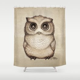 """""""The Little Owl"""" by Amber Marine ~ Graphite & Ink Illustration, (Copyright 2016) Shower Curtain"""