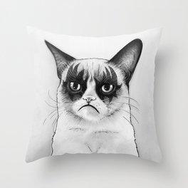 Grumpy Simmons Cat Whimsical Funny Animal Music Throw Pillow