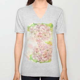 Pink Hydrangeas on a soft pastel abstract background Unisex V-Neck