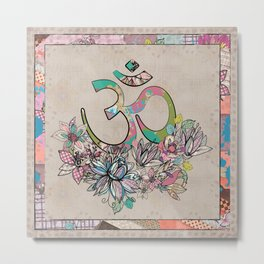 OM symbol  composition vintage scrapbook style with flowers Metal Print