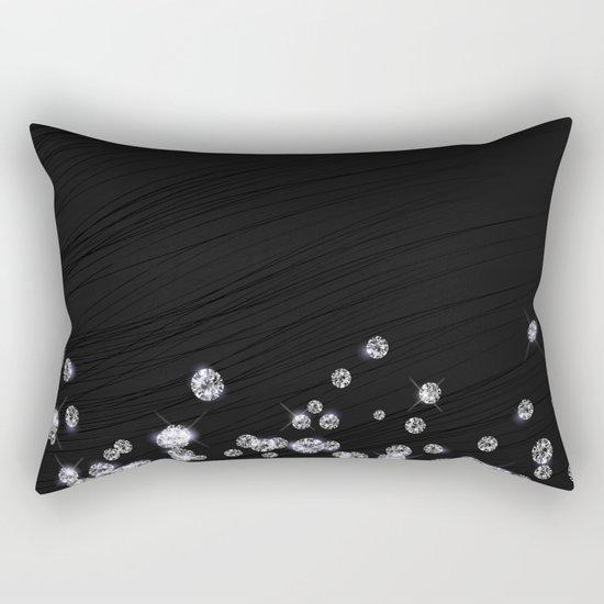 Glitter Diamonds on black silk fabric- Luxury design Rectangular Pillow