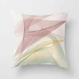 Maroon and Green Curves Throw Pillow