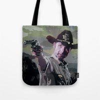 rick grimes Tote Bags featuring Rick Grimes by Processed Image
