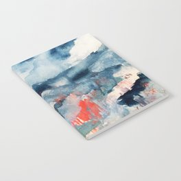 Before the Storm - an abstract acrylic and ink piece in blues, white, pink, and red Notebook