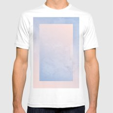 Rose Quartz and Serenity Geometric Ombre MEDIUM Mens Fitted Tee White