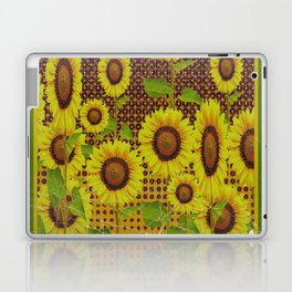 GRUBBY WORN BROWN SUNFLOWERS ART Laptop & iPad Skin