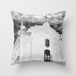Church Black and White Throw Pillow