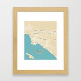 Los Angeles Stylish Functional City Map Framed Art Print