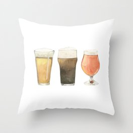 The Three Beers Throw Pillow