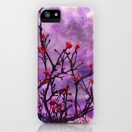 Dark Branches With Red Buds Watercolor iPhone Case