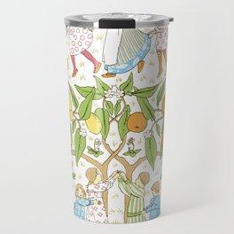 Oranges and Lemons Say the Bells of St. Clements - Vintage Wallpaper Travel Mug