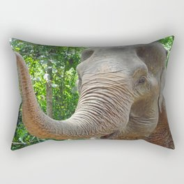 happy elephant in a sanctuary in Thailand Rectangular Pillow