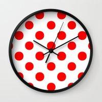 polka dots Wall Clocks featuring Polka Dots (Red/White) by 10813 Apparel