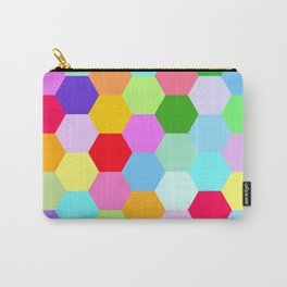 Multicoloured Hexagon Pattern Carry-All Pouch