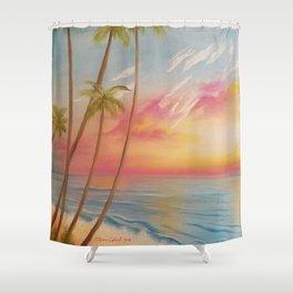 Paradise, Beautiful Beach, Peaceful Beach, Pastel Beach, Beach decor Shower Curtain