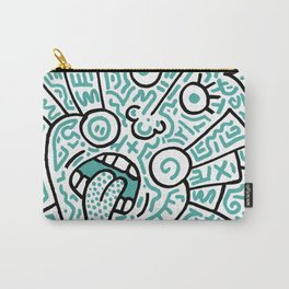 """""""The Face"""" - inspired by Keith Haring v. teal Carry-All Pouch"""