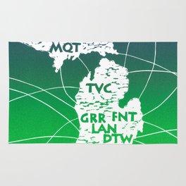Michigan Airport Code Map - Linocut Rug