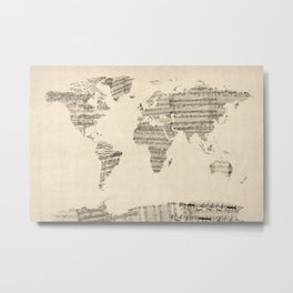 Old Sheet Music World Map Metal Print