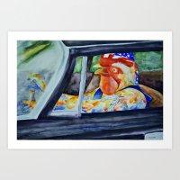 Redneck Rooster Art Print