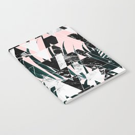 Modern geometric triangles black white abstract marble pattern palm tree leaf pink ombre Notebook