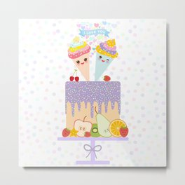 I love you Card design - Birthday, valentine's day, wedding, engagement. Sweet cake,  Kawaii Metal Print