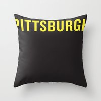 steelers Throw Pillows featuring Pittsburgh Pride by KatieKatherine