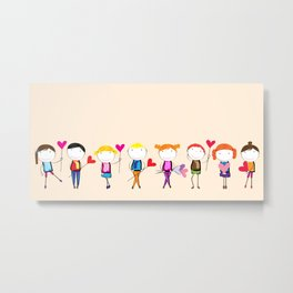 Children with hearts Metal Print
