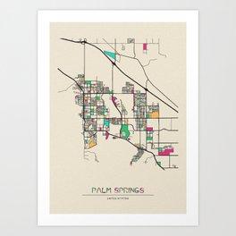 Colorful City Maps: Palm Springs, California Art Print