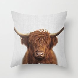 Highland Cow - Colorful Throw Pillow